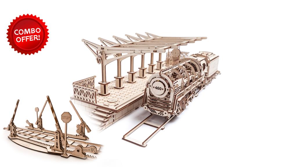 Locomotive with Tender + Railway Platform + Set of Rails With Crossing model kits